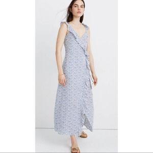 Madewell Ruffled Faux Wrap Maxi Dress Vine Floral